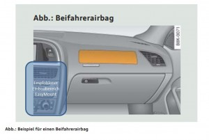 Recommended installation area Easy Mount airbag